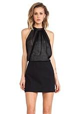 Tibi Leather Collar Dress in Black Multi