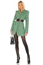 Tibi Windowpane Peaked Lapel Blazer Dress in Celadon Multi