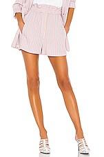 Tibi Stripe Viscose Twill Pull On Short in Dusty Pink Multi