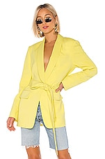 Tibi Stretch Viscose Suiting Oversized Tuxedo Blazer in Acid Yellow