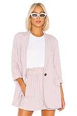 Tibi Stripe Viscose Twill Oversized Blazer in Dusty Pink Multi