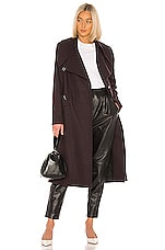 Tibi Maxi Coat in Plum Brown