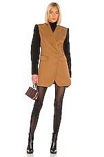 Tibi Techy Twill Long Peaked Lapel Blazer in Camel & Black Multi