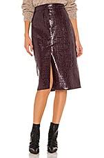 Tibi Croc Embossed Patent Trouser Skirt in Burnt Raspberry
