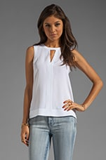 Solid Silk Splitneck Tank in White