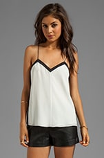 Color Block Silk Cami in Ivory/Black Multi