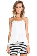 Silk Strappy Ruffle Cami Tank in White