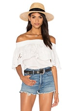 Off Shoulder Ruffle Top en Ivoire