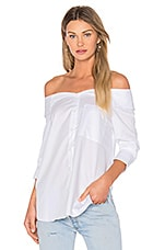 Notched Off Shoulder Shirt in White