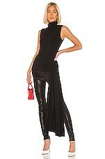 Tibi Structured Crepe Shirred Drape Mockneck Top in Black