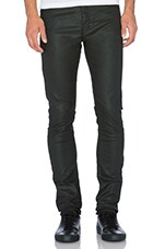 Fit Cut Leather Effect Jeans in Black
