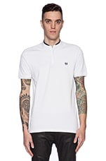 Shiny Pique And Leather Polo en Blanc