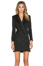 The Kooples Coat Shaped Dress with Leather Collar and Piping in Black