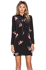 Flower Print Dress with Lace Collar in Black