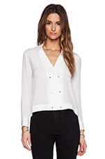 Button Silk Blouse in White