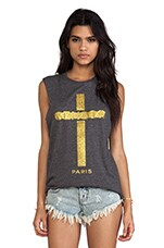 The Laundry Room Censor Cross Thrashed Muscle Tee in Charcoal