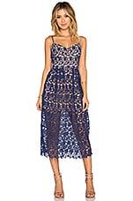 x Love Indie Bella Crochet Midi Dress in Navy & Nude