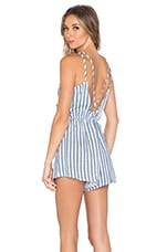 Toby Heart Ginger Candy Shop Romper in Blue & White
