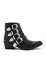 Buckled Leather Bootie in Black Polido