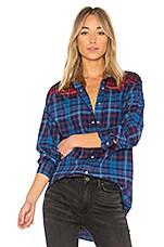TOMMY X GIGI Flannel Shirt in Tartan Small Blue