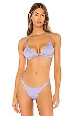 Tori Praver Swimwear Jagger Smocked Triangle Bikini Top in Lilac