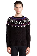 Alan Fair Isle Sweater in Black