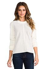 Perforated Suede Top in Cream