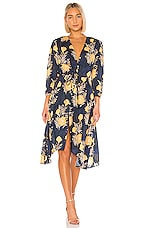 Birds of Paradis by Trovata Ainsley Boho Dress in Navy & Gold Floral
