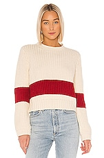 Birds of Paradis by Trovata Cara Crochet Trim Sweater in Antique White With Red Stripe