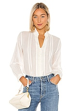 Birds of Paradis by Trovata Finley Pintuck Blouse in Antique White