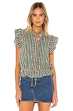 Birds of Paradis by Trovata Ruffle Trim Blouse in Green With Copper Stripe
