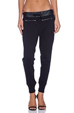 Leather Panel Zip Pant in Black
