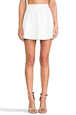 Strike Plain Leather Mini Skirt in White