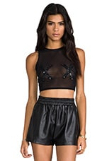 XOXO Mesh and Sequin Top in Black