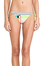 Color Block Plaid Tie Side Bikini Bottoms in Multi