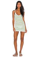 Tularosa Beau Dress in Green & White Stripe