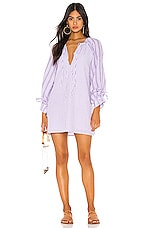 Tularosa Justina Tie Sleeve Dress in Lilac & White Stripe