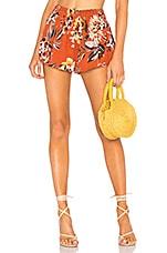 Tularosa Natalie Short in Orange Dahlia Floral