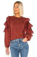 Tularosa Cat Ruffle Sweater in Rust