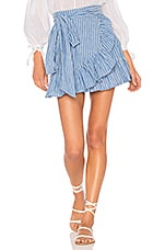 x REVOLVE Maida Ruffle Skirt in Blue & White Stripe