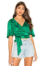 Tularosa Kelly Wrap Top in Kelly Green