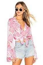 Tularosa Raquel Beach Shirt in Pink Palm Print