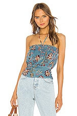 Tularosa Sashi Top in Dusty Blue Floral