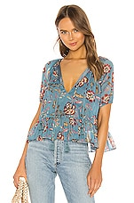 Tularosa Christiana Top in Dusty Blue Floral