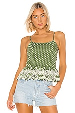 Tularosa Campbell Embroidered Top in Moss Green Polka Dot