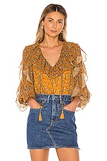 Tularosa Claire Blouse in Mustard Floral
