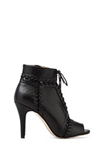 Magan Lace Up Peep Toe Bootie in Black