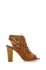 Sivan Laser Cut Lace Up Suede Sandal in Cognac