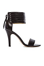Callie Woven Leather Lace Sandal in Black