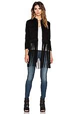 ThePerfext Molly Fringe Leather Jacket in Black Suede Fringe